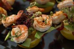 Shrimp canape starter Stock Image