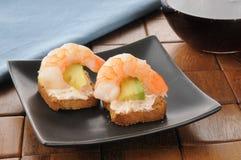 Shrimp canapes Stock Photo