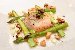 Shrimp carpaccio with asparagus Stock Photography