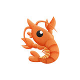 Shrimp cartoon is animal in underwater to sea of paper cut Royalty Free Stock Image