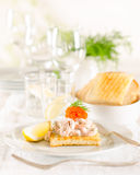 Shrimp and caviar appetizer Royalty Free Stock Photos