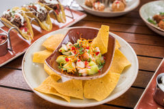 Shrimp ceviche with corn nachos Royalty Free Stock Photos