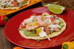 Shrimp Ceviche Tostada. Two plates of shrimp ceviche tostadas with fennel and grapefruit, beer, garnished with mini bell pepper Stock Images