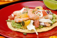 Shrimp Ceviche Tostada. Two plates of shrimp ceviche tostadas with fennel and grapefruit, beer, garnished with mini bell pepper Royalty Free Stock Image