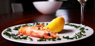 Shrimp and champagne Stock Photos