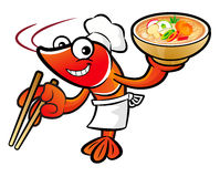 Shrimp Character is holding a chopsticks and soup bowl. Royalty Free Stock Photos