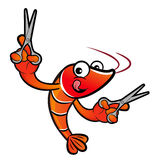 Shrimp Character is Holding a Cooking scissors of both hands. Royalty Free Stock Image