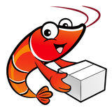Shrimp Character is holding a large courier box of both hands. Royalty Free Stock Photography