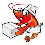 Shrimp Character is holding a large courier box of both hands. Stock Photo
