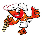 Shrimp Character is picking up a thing with chopsticks. Stock Photography