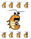 Shrimp Character with Various Emotions Royalty Free Stock Images