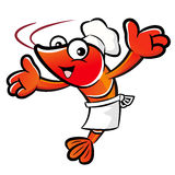 The Shrimp Chef mascot has been welcomed with both hands. Prawn Stock Photography