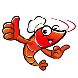 Shrimp chef Mascot the left hand best gesture and the right hand Stock Image
