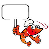 Shrimp chef mascot the right hand guides and the left hand is ho Royalty Free Stock Photos