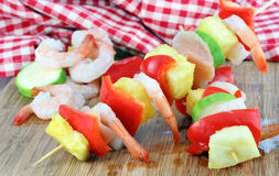 Shrimp, Chicken And Pineapple Shish Kebabs Stock Images