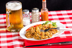 Shrimp and Chicken Jambalaya with Beer Stock Images