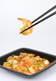 Shrimp with Chili Sauce and Scallion Stock Image