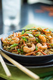 Shrimp Chop Suey. Chinese shrimp chop suey with egg and brown rice royalty free stock photos
