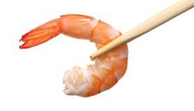 Shrimp with chopsticks. On white background Stock Image