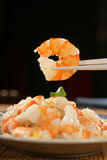 Shrimp on chopsticks Stock Image