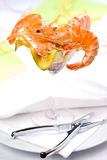 Shrimp cocktail. Shrimps in a glass on a dinner table in a plate Royalty Free Stock Photography