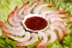 Shrimp Cocktail 2. A circle of shrimp cocktail on a lettuce bed Stock Images