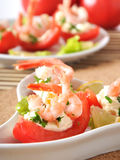 Shrimp cocktail. Halves of tomatoes filled with shrimp cocktail Stock Photography