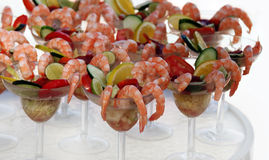 Shrimp cocktail. Several shrimp cocktails standing on a table Stock Photo