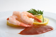 Shrimp cocktail. On white place with cocktail sauce Royalty Free Stock Image