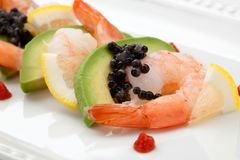 Shrimp Cocktail with Black Caviar Royalty Free Stock Photo