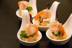 Shrimp cocktail on bread. Creamy seafood sauce in cup Royalty Free Stock Image