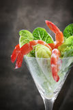 Shrimp Cocktail with Cos Lettuce stock photography