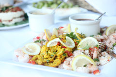 Shrimp cocktail. And curry shrimp on a plate with cocktail sauce Royalty Free Stock Photos