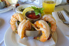 Shrimp Cocktail. A fresh shrimp cocktail over a table Stock Photo