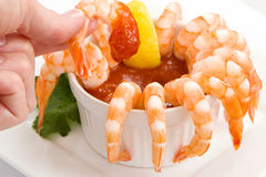 Shrimp Cocktail with Hand Royalty Free Stock Image