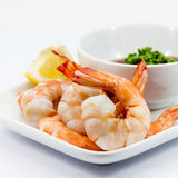 Shrimp Cocktail Isolated on a White . Stock Image