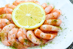 Shrimp Cocktail and Lemon Royalty Free Stock Photos