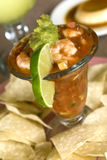 Shrimp cocktail with lime Stock Images