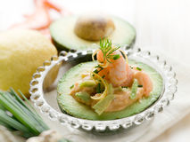 Shrimp cocktail over avocado royalty free stock photography