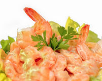 Shrimp cocktail in pink sauce with salad Royalty Free Stock Image