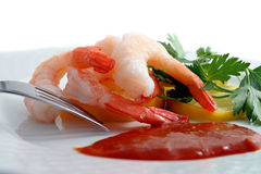 Shrimp cocktail on plate Stock Photos