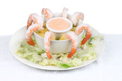 Shrimp Cocktail. Cocktail shrimp plate on white background stock photo