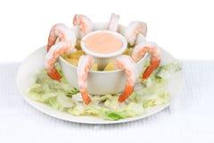 Shrimp Cocktail. Cocktail shrimp plate on white background Stock Photo