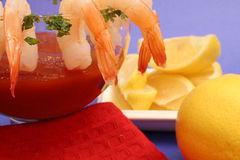Shrimp cocktail with red. Isolated photo of a shrimp cocktail with red Stock Images