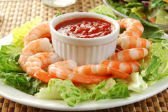 Shrimp cocktail and salad Stock Photos
