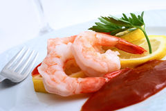 Shrimp Cocktail with Sauce. A background with a view of Shrimp cocktail with sauce in a white dish Stock Image