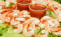 Shrimp and Cocktail Sauce on Lettuce Stock Photo