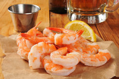 Shrimp and cocktail sauce Stock Images