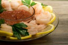 Shrimp Cocktail served on lemon rounds Stock Photos