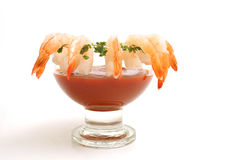 Shrimp cocktail on white Stock Images